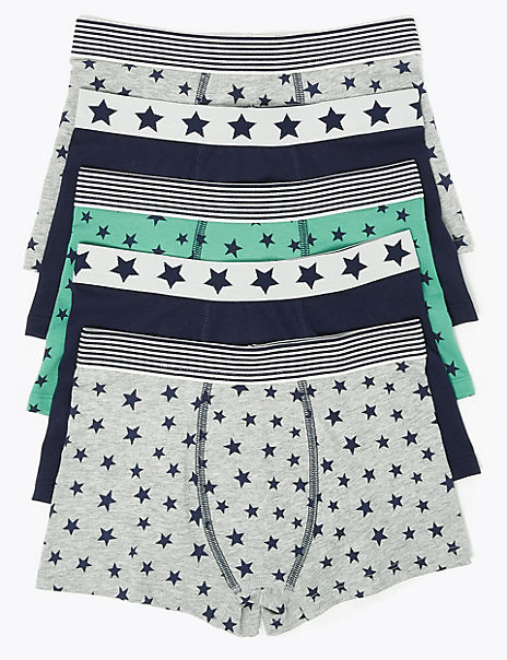 5 Pack Cotton Rich Star Print Trunks (2-16 Years)