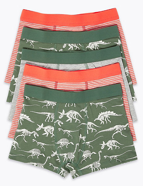 5 Pack Cotton with Stretch Dinosaur Trunks (2-16 Years)