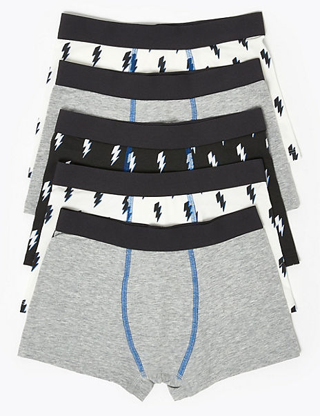 5 Pack Cotton with Stretch Lightning Trunks (2-16 Years)