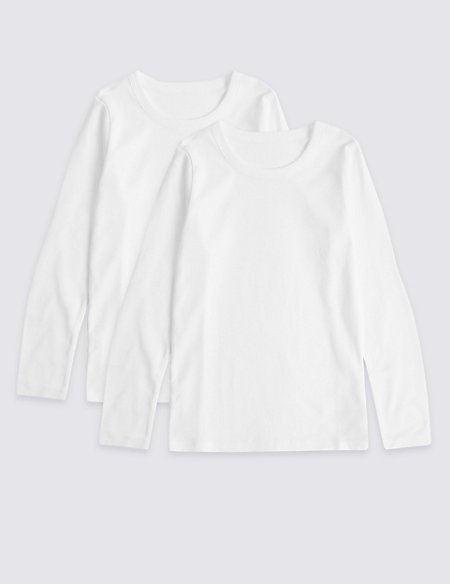 Pure Cotton Long Sleeve Vests (18 Months - 16 Years)