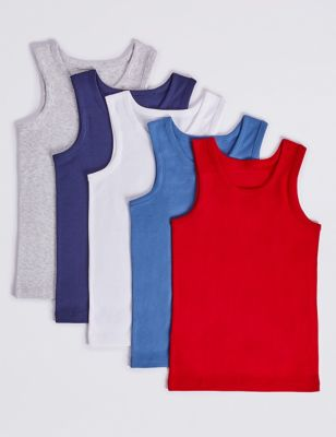 5 Pack Pure Cotton Vests (18 Months - 16 Years)