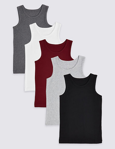 5 Pack Cotton Vests (18 Months - 16 Years)