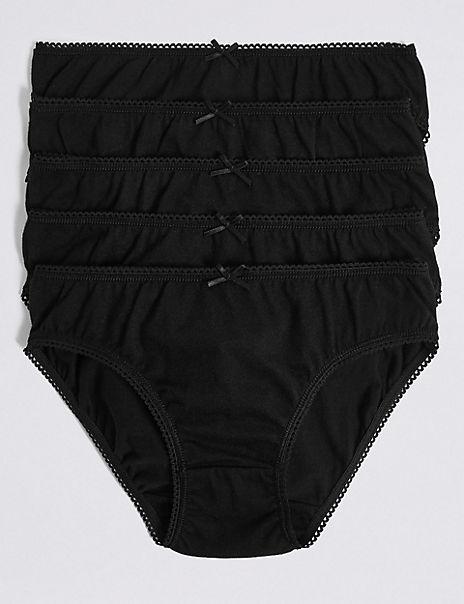 5 Pack Pure Cotton Bikini Knickers (6-16 Years)