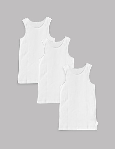 3 Pack Pure Cotton Vests (18 Months - 16 Years)