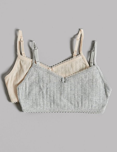 2 Pack Pure Cotton Pointelle Crop Tops (6-16 Years)