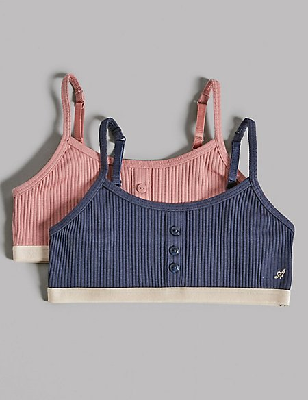 2 Pack Cotton Crop Tops with Stretch (6-16 Years)