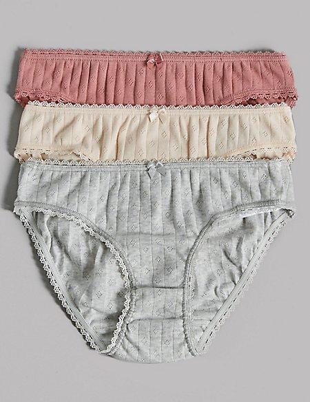 3 Pack Pure Cotton Pointelle Bikini Knickers (6-16 Years)