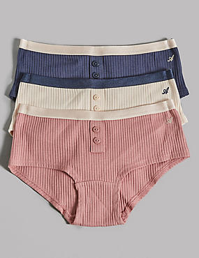 3 Pack Cotton Ribbed Shorts with Stretch (6-16 Years)