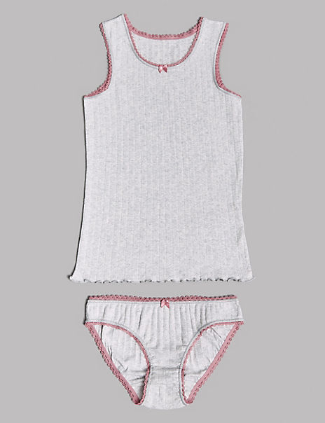 Pure Cotton Pointelle Vest & Knickers Set (6-16 Years)
