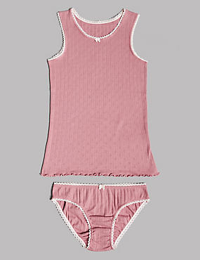 Pointelle Vest & Knickers Set (6-16 Years)