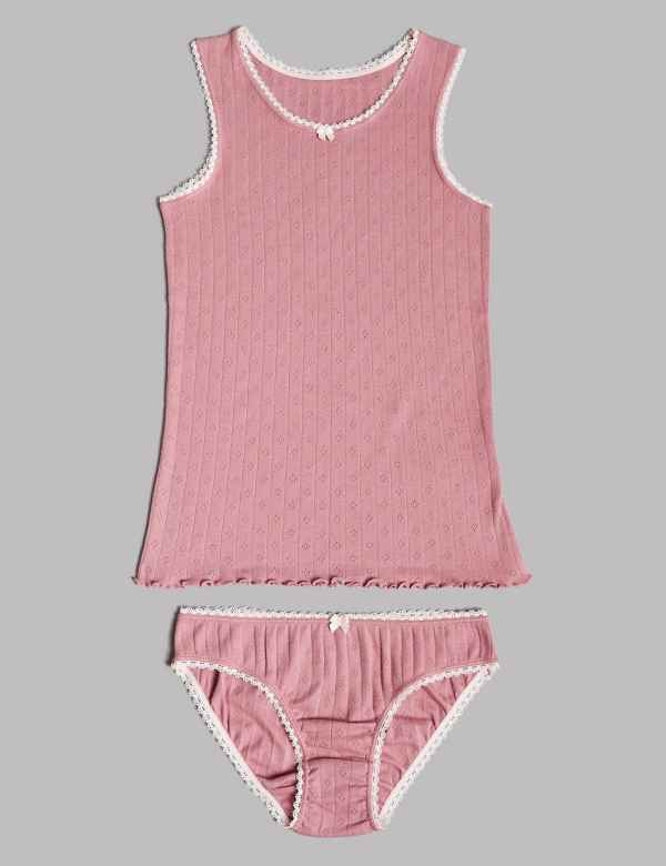 c80e322165 Pointelle Vest   Knickers Set (6-16 Years)