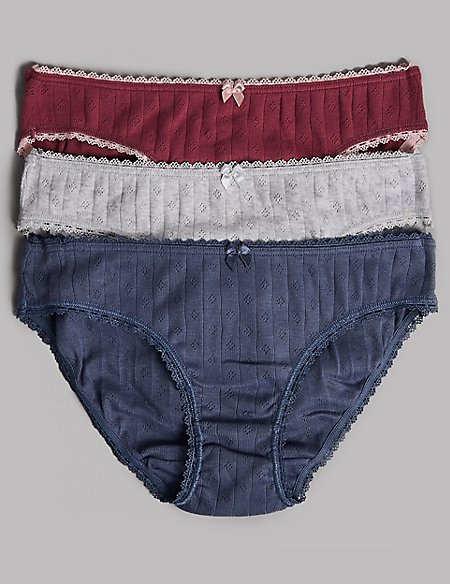3 Pack Pure Cotton Bikini Knickers (6-16 Years)
