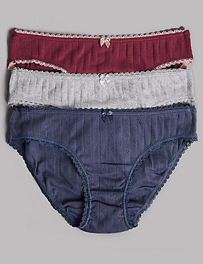 3 Pack Pure Cotton Bikini Knickers (6-16 Years)
