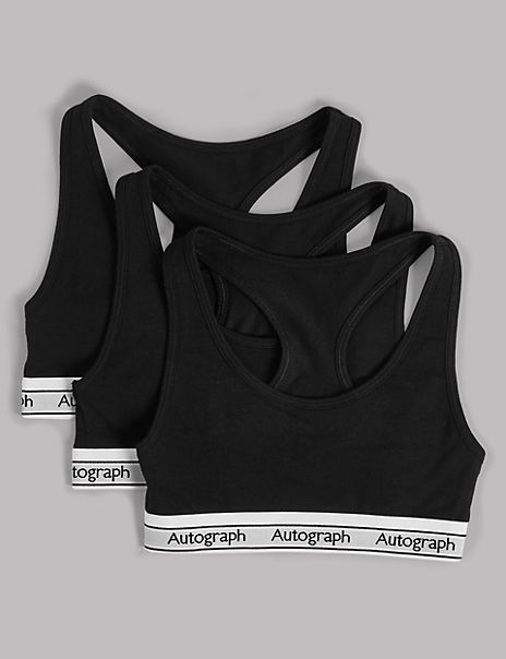 3 Pack Cotton with Lycra Racer Cropped Tops (6-16 Years)