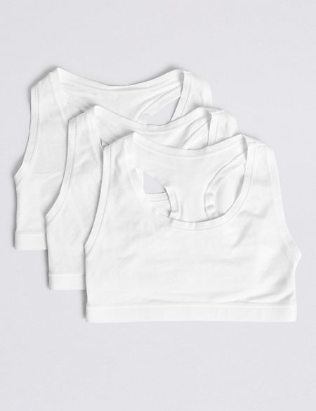 3 Pack Cotton Crop Tops with Stretch (6-16 Years)