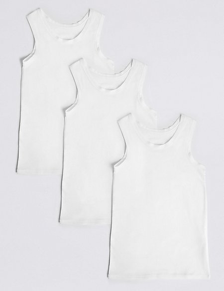 3 Pack Cotton Vests with Stretch (18 Months - 16 Years)