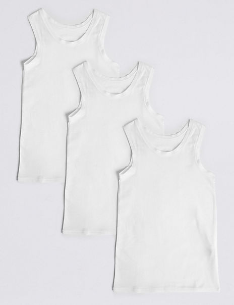 3 Pack Cotton with Stretch Vests (18 Months - 16 Years)