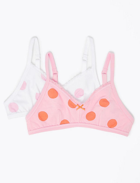 2 Pack Flexifit™ Spotted Non-Padded First Bras (A - B)