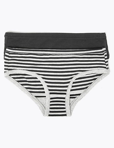 2 Pack Striped Knickers (6-16 Years)