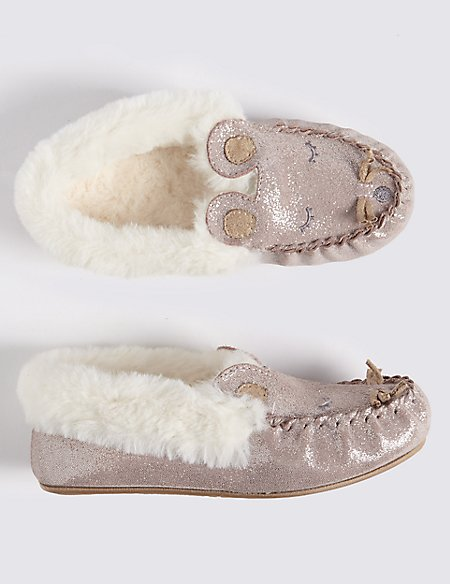 Kids' Suede Moccasin Slippers (5 Small - 12 Small)
