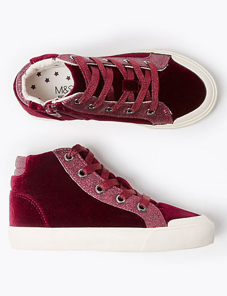 Kids' Freshfeet™ Velvet High Top Trainers (5 Small – 12 Small)
