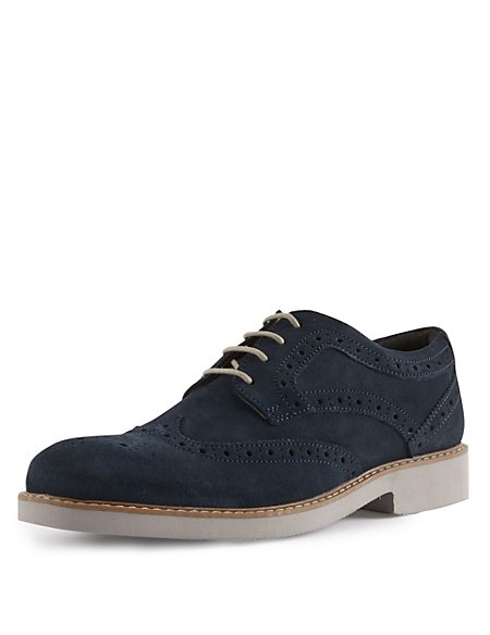 Kids' Suede Lace Up Brogue Shoes with Stain Resistance