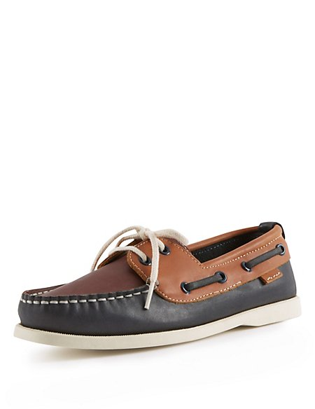 Kids' Leather Lace Up Boat Shoes
