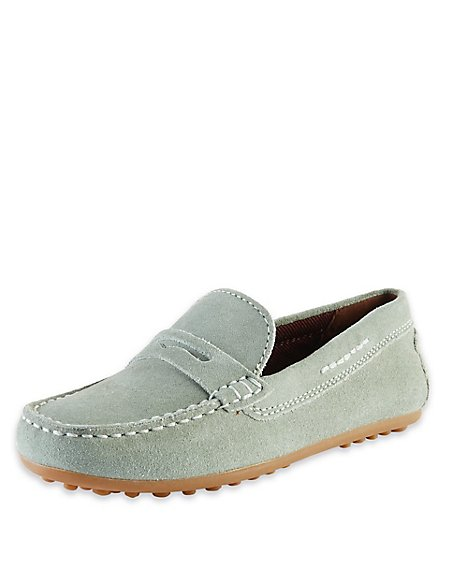 Kids' Suede Driving Shoes with Stain Resistance