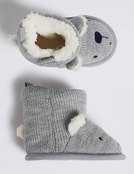 Baby Bear Knitted Pram Boots