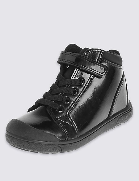 Kids' Leather Mid Top Riptape Trainers with Freshfeet™ Technology