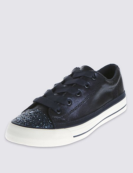 Kids' Glitter Effect Lace Up Trainers