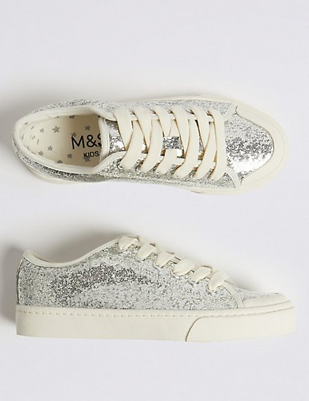 Kids' Glitter Trainers with Freshfeet™ (11 Small - 6 Large)