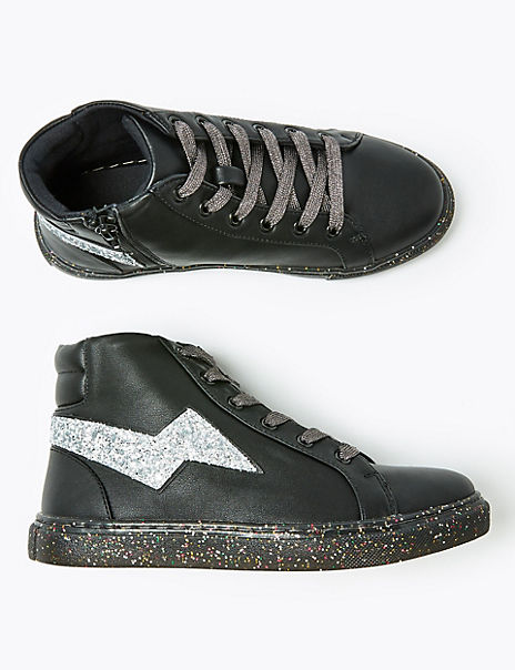 Kids' Glitter Sole High Top Trainers (13 Small - 6 Large)