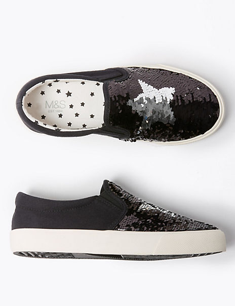 Kids' Sequin Slip On Trainers (13 Small - 6 Large)