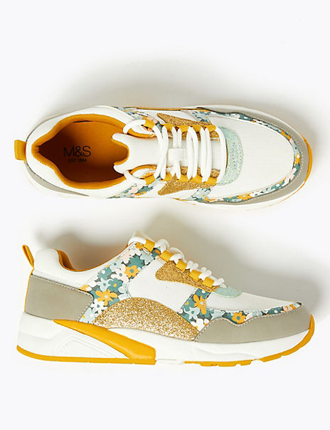 Kids' Floral Print Trainers (13 Small - 6 Large)
