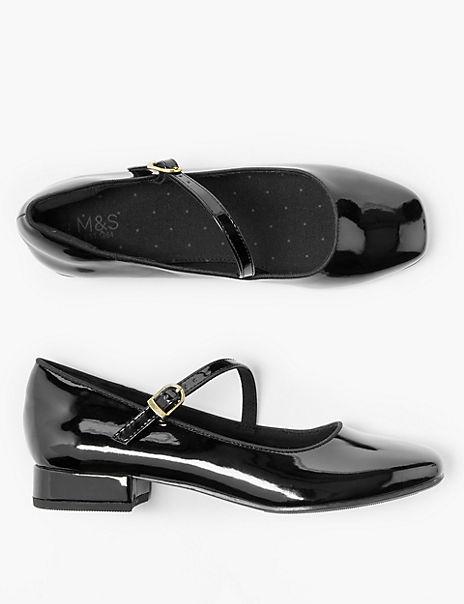 Kids' Freshfeet™ Block Heeled Ballerina Shoes (13 Small - 6 Large)