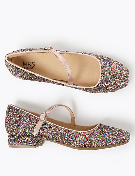 Kids' Glitter Block Heeled Shoes (13 Small - 6 Large)
