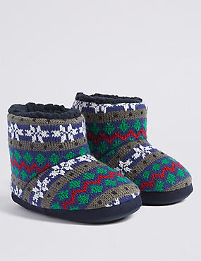 Kids' Fairisle Slippers (5 Small - 7 Large)