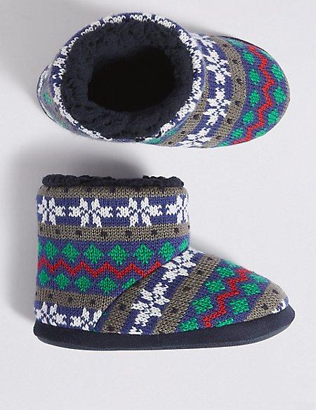 Kids' Fairisle Slippers (5 Small - 7 Large)