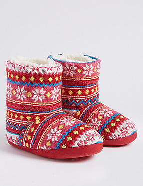 Kids' Fairisle Boot Slippers (5 Small - 6 Large)