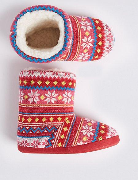 Kids' Fairisle Boot Slippers (5 Small - 6 Large)