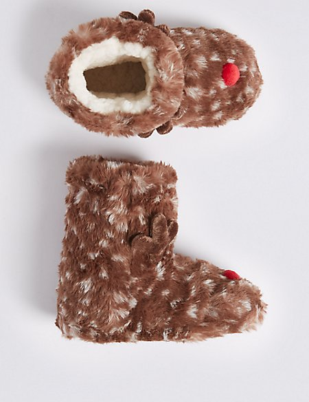 Kids' Reindeer Boot Slippers (5 Small - 6 Large)