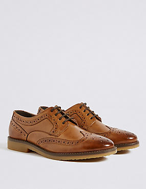 Kids' Leather Brogue Shoes (13 Small - 7 Large), BROWN, catlanding