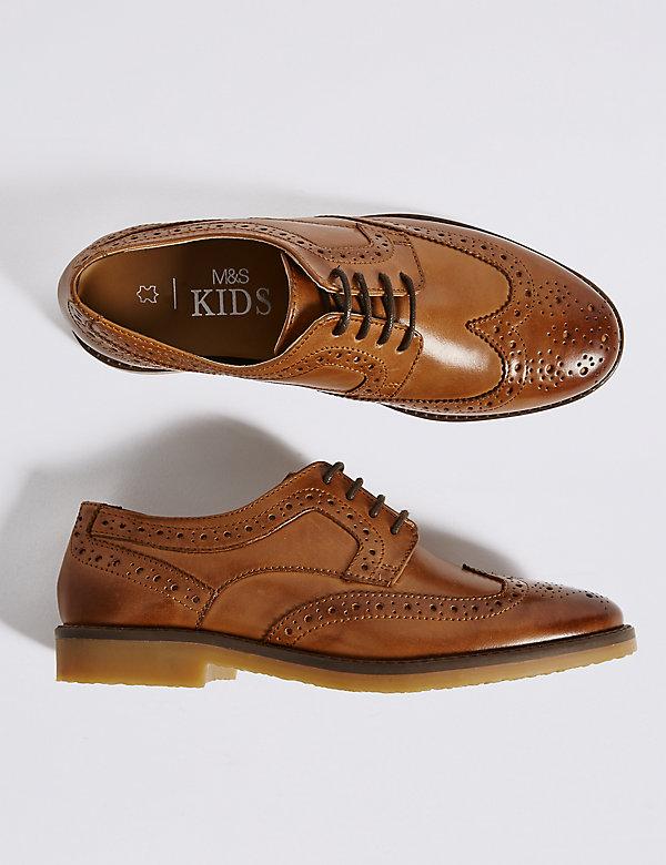 4 3 5   RRP £32-£34 M/&S Kids Boys Black Leather School Shoes Brogues  UK2