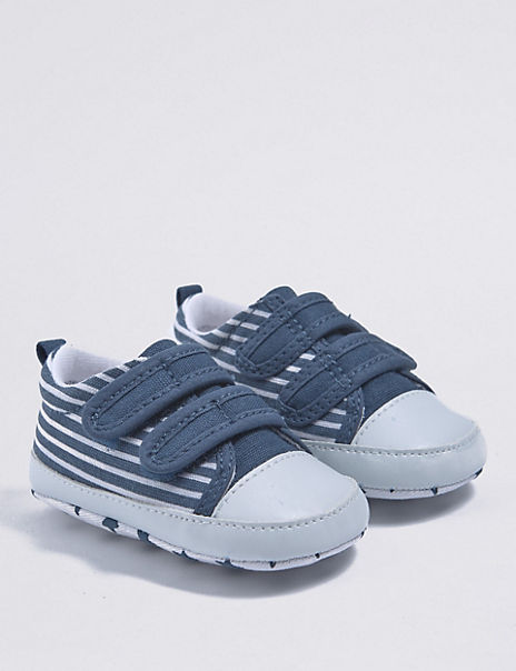 Baby Striped Pram Shoes (0-18 Months)