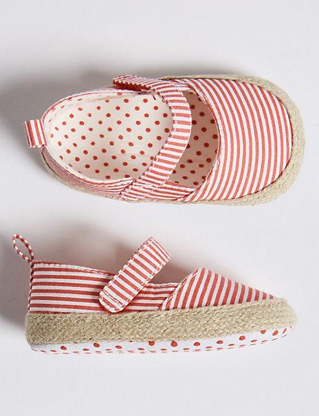 Baby Striped Espadrille Pram Shoes (0-18 Months)