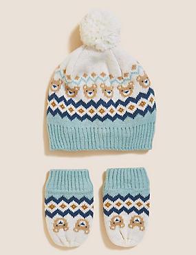 Kids' Bear Hat and Mitten Set (0-12 Mths)
