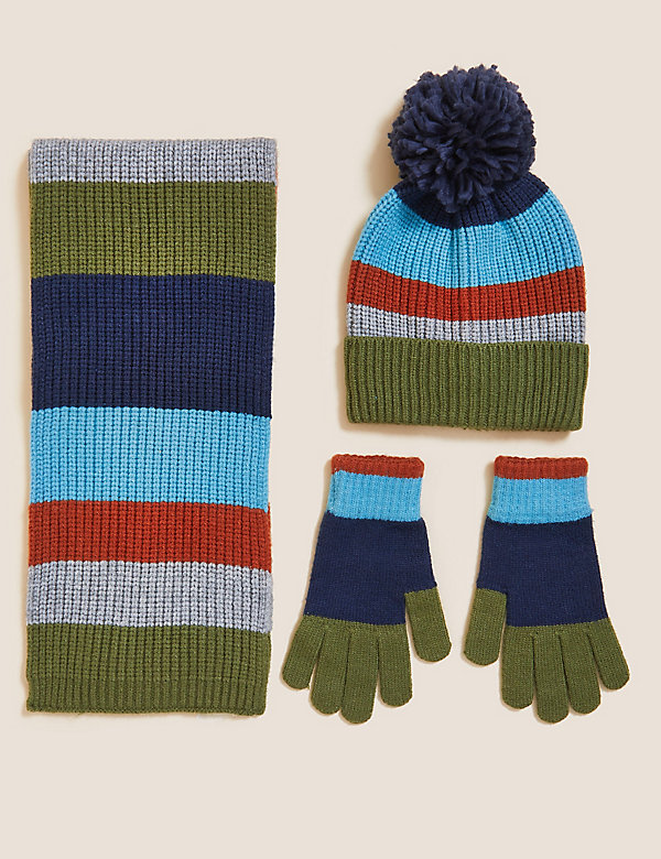 Kids' Striped Hat, Scarf and Glove Set (6-13 Yrs)