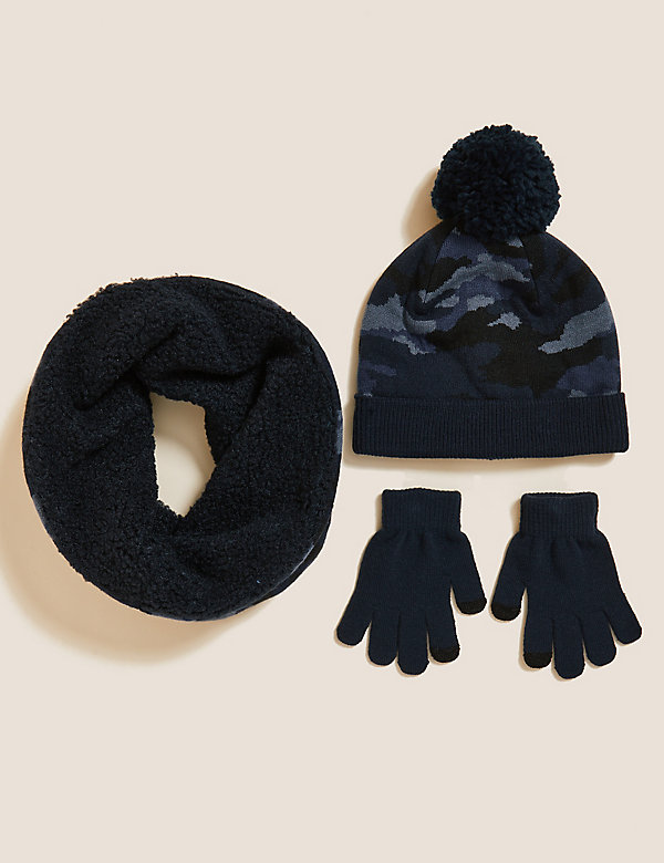 Kids Camouflage Hat, Snood and Glove Set (6-13 Yrs)