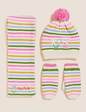 Kids' Peppa Pig™ Hat, Scarf and Mitten Set (1-6 Yrs)